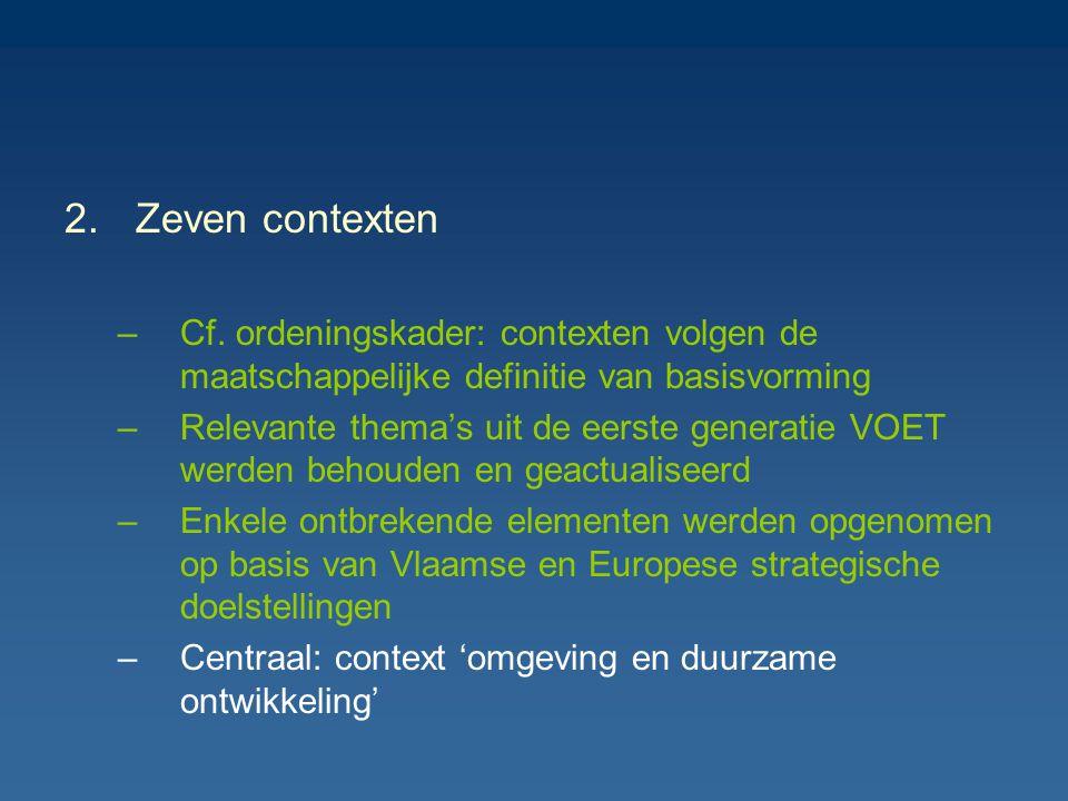 2.Zeven contexten –Cf. ordeningskader: contexten volgen de maatschappelijke definitie van basisvorming –Relevante thema's uit de eerste generatie VOET