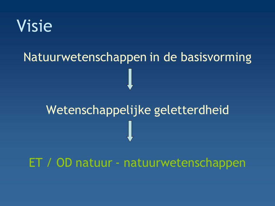 Visie Natuurwetenschappen in de basisvorming Wetenschappelijke geletterdheid ET / OD natuur - natuurwetenschappen