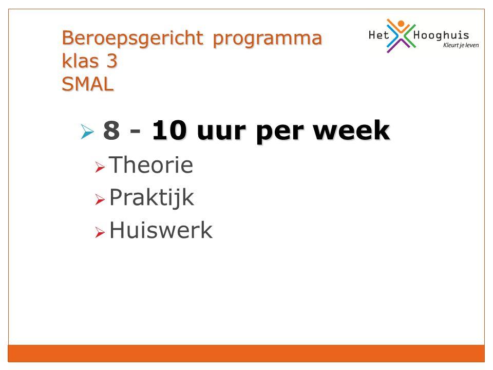 Beroepsgericht programma klas 3 SMAL 10 uur per week  8 - 10 uur per week  Theorie  Praktijk  Huiswerk