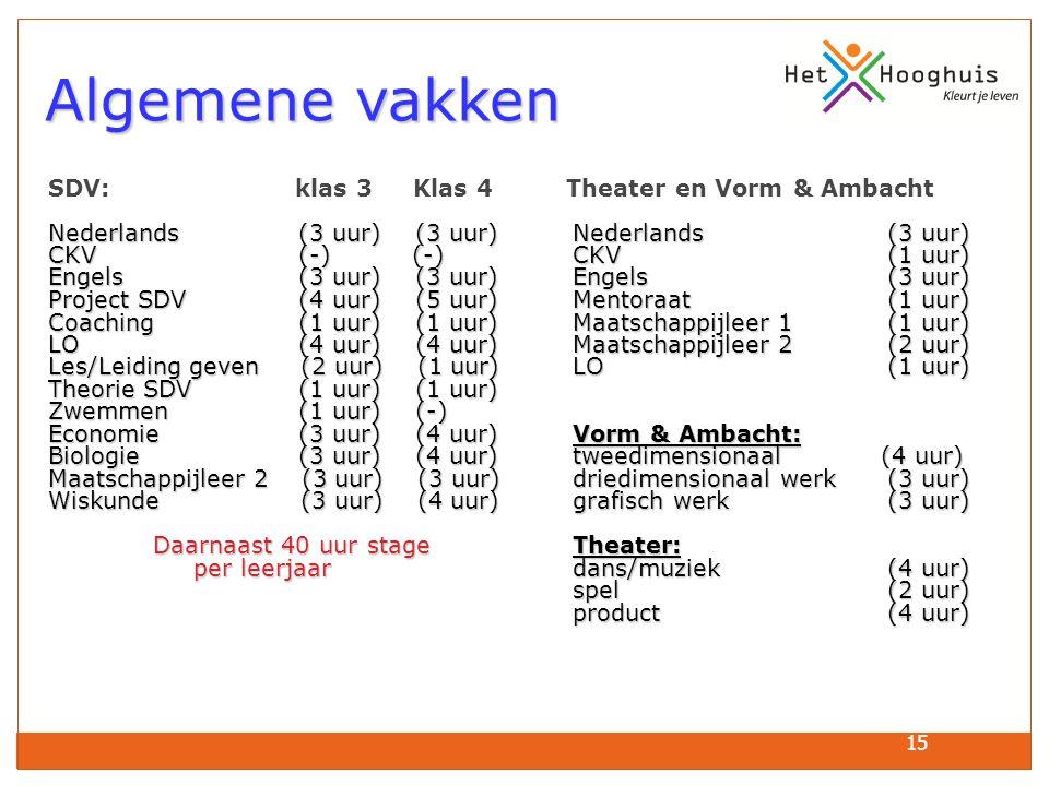 15 Algemene vakken Algemene vakken SDV: klas 3 Klas 4 Theater en Vorm & Ambacht Nederlands (3 uur) (3 uur)Nederlands (3 uur) CKV (-) (-)CKV(1 uur) Engels (3 uur) (3 uur)Engels(3 uur) Project SDV (4 uur) (5 uur)Mentoraat(1 uur) Coaching (1 uur) (1 uur)Maatschappijleer 1(1 uur) LO (4 uur) (4 uur)Maatschappijleer 2(2 uur) Les/Leiding geven (2 uur) (1 uur)LO(1 uur) Theorie SDV (1 uur) (1 uur) Zwemmen (1 uur) (-) Economie (3 uur) (4 uur)Vorm & Ambacht: Biologie (3 uur) (4 uur)tweedimensionaal (4 uur) Maatschappijleer 2 (3 uur) (3 uur)driedimensionaal werk(3 uur) Wiskunde (3 uur) (4 uur)grafisch werk(3 uur) Daarnaast 40 uur stageTheater: per leerjaar dans/muziek(4 uur) per leerjaar dans/muziek(4 uur) spel(2 uur) product(4 uur)