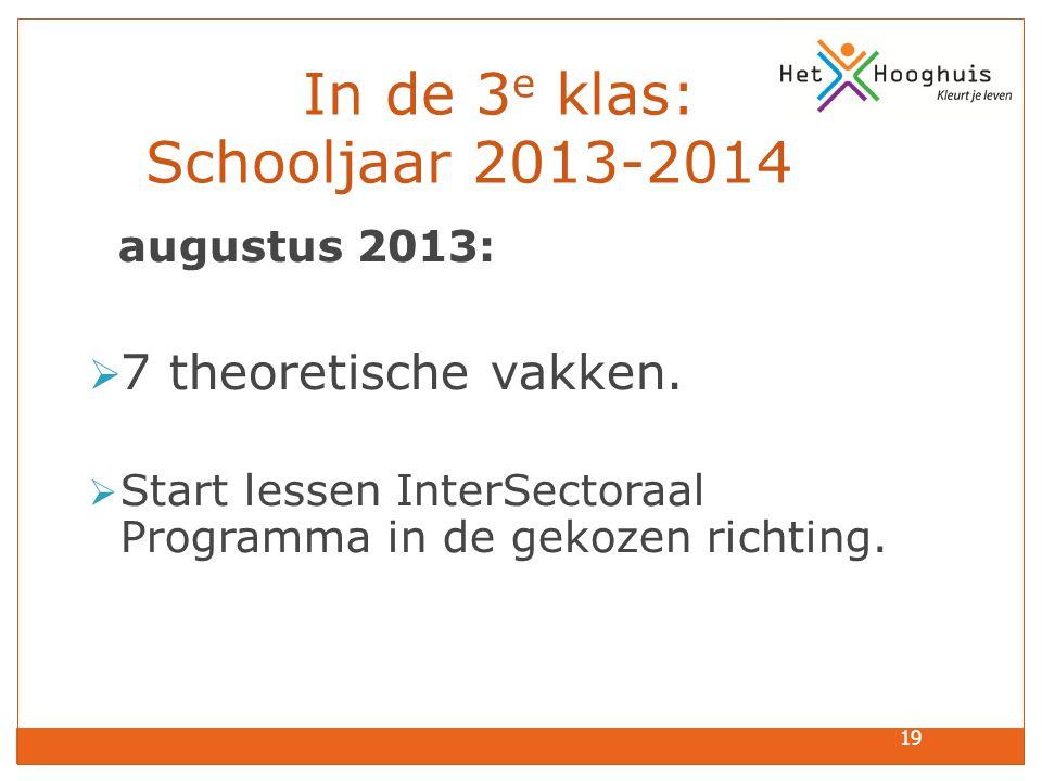 19 In de 3 e klas: Schooljaar 2013-2014 augustus 2013:  7 theoretische vakken.