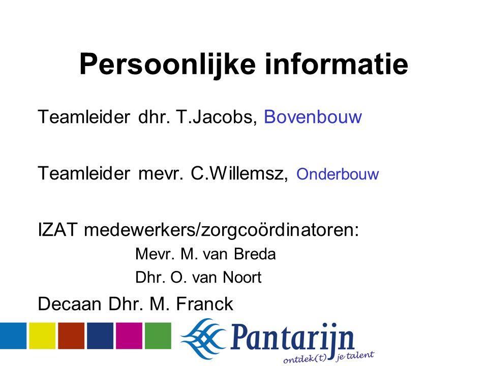 Persoonlijke informatie Teamleider dhr. T.Jacobs, Bovenbouw Teamleider mevr.
