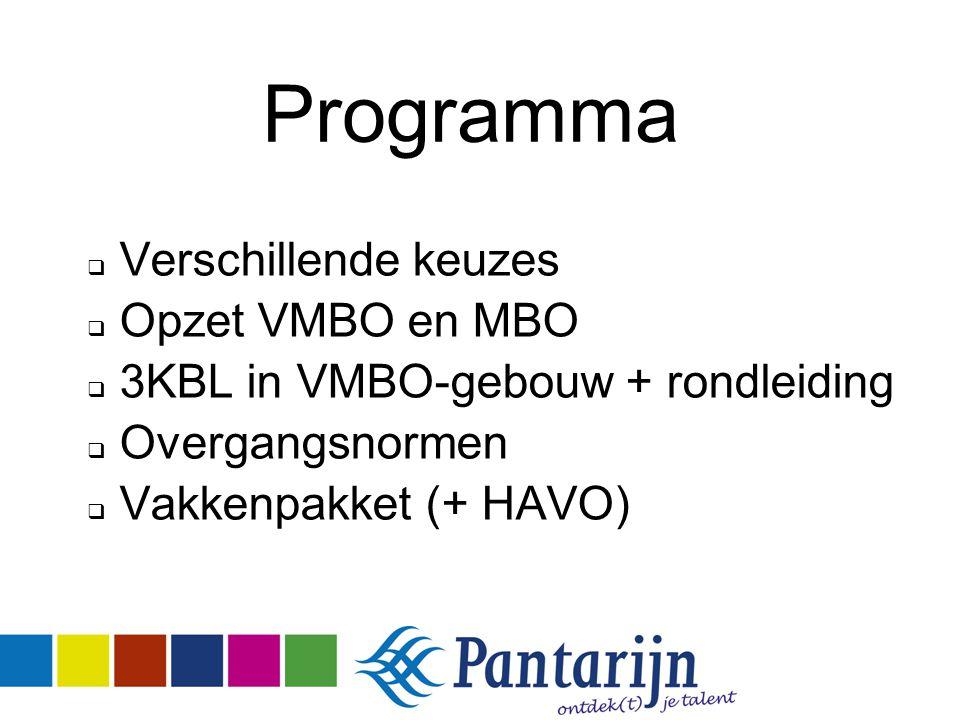 Programma  Verschillende keuzes  Opzet VMBO en MBO  3KBL in VMBO-gebouw + rondleiding  Overgangsnormen  Vakkenpakket (+ HAVO)