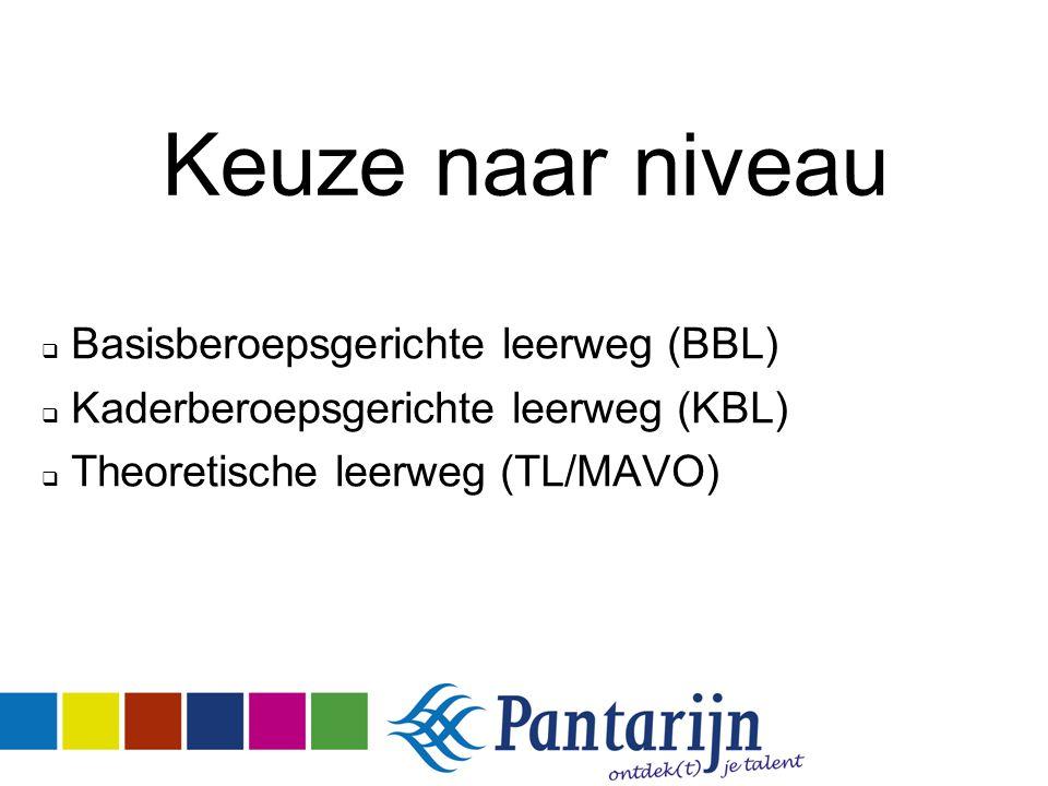 Keuze naar niveau  Basisberoepsgerichte leerweg (BBL)  Kaderberoepsgerichte leerweg (KBL)  Theoretische leerweg (TL/MAVO)