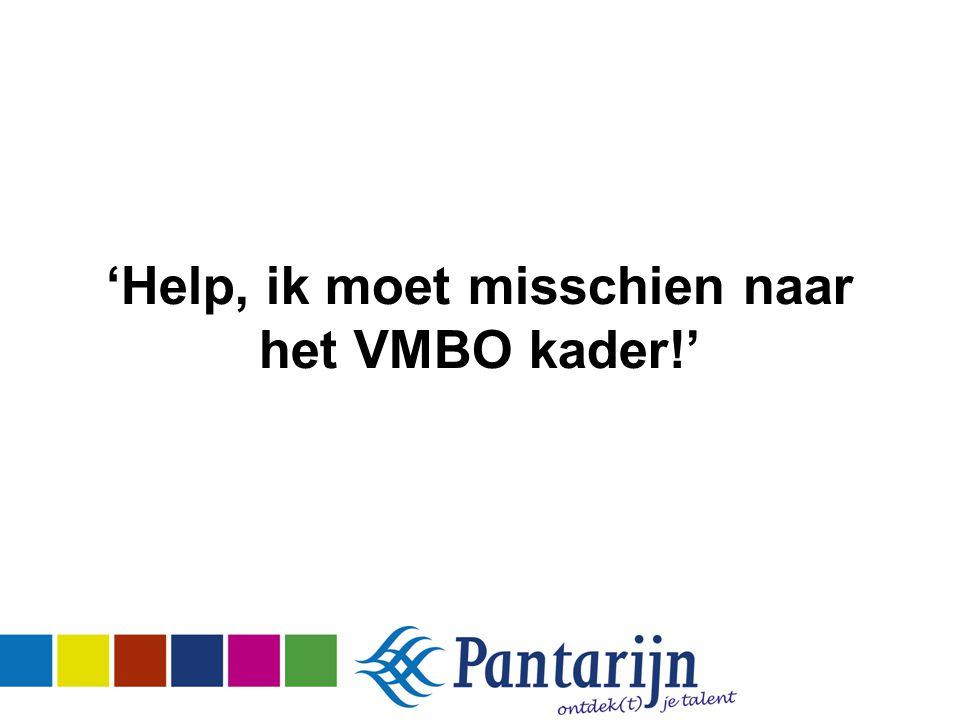 'Help, ik moet misschien naar het VMBO kader!'