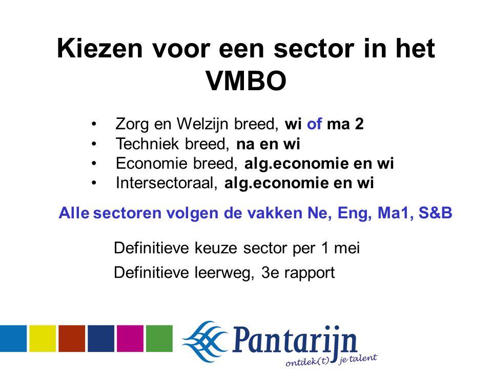 Kiezen voor een sector in het VMBO Definitieve keuze sector per 1 mei Definitieve leerweg, 3e rapport Zorg en Welzijn breed, wi of ma 2 Techniek breed, na en wi Economie breed, alg.economie en wi Intersectoraal, alg.economie en wi Alle sectoren volgen de vakken Ne, Eng, Ma1, S&B