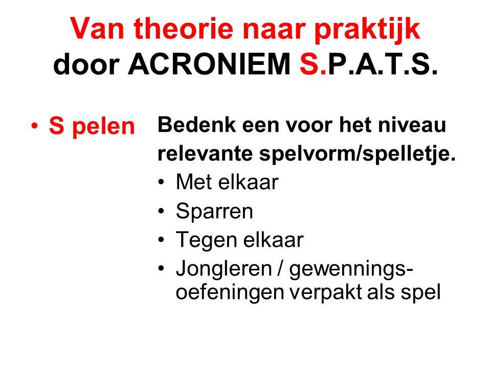 Van theorie naar praktijk door ACRONIEM S.P.A.T.S. S pelen Bedenk een voor het niveau relevante spelvorm/spelletje. Met elkaar Sparren Tegen elkaar Jo