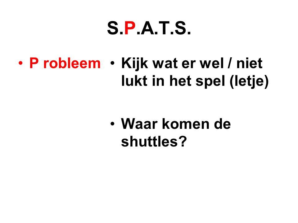 S.P.A.T.S. P robleemKijk wat er wel / niet lukt in het spel (letje) Waar komen de shuttles?