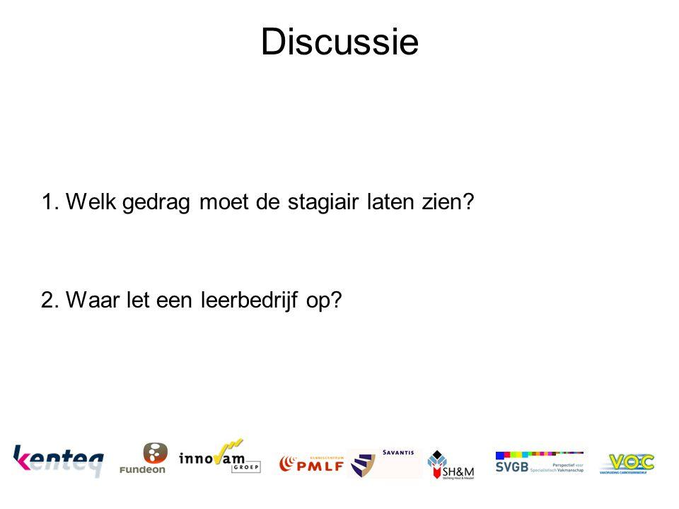 Discussie 1. Welk gedrag moet de stagiair laten zien? 2. Waar let een leerbedrijf op?