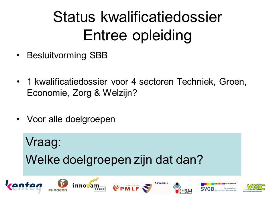Status kwalificatiedossier Entree opleiding Besluitvorming SBB 1 kwalificatiedossier voor 4 sectoren Techniek, Groen, Economie, Zorg & Welzijn.
