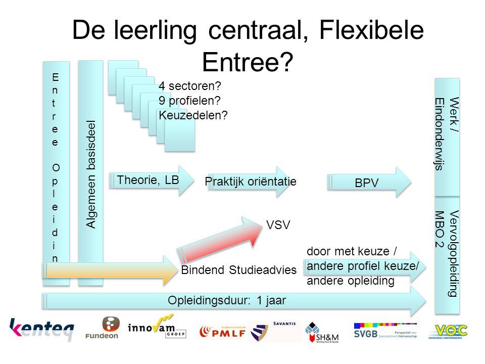 De leerling centraal, Flexibele Entree? Algemeen basisdeel Entree OpleidingEntree Opleiding 4 sectoren? 9 profielen? Keuzedelen? Opleidingsduur: 1 jaa