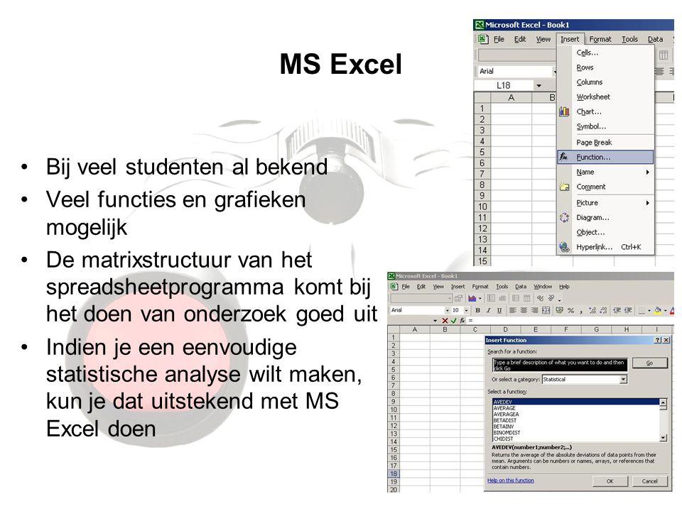 MS Excel Bij veel studenten al bekend Veel functies en grafieken mogelijk De matrixstructuur van het spreadsheetprogramma komt bij het doen van onderzoek goed uit Indien je een eenvoudige statistische analyse wilt maken, kun je dat uitstekend met MS Excel doen