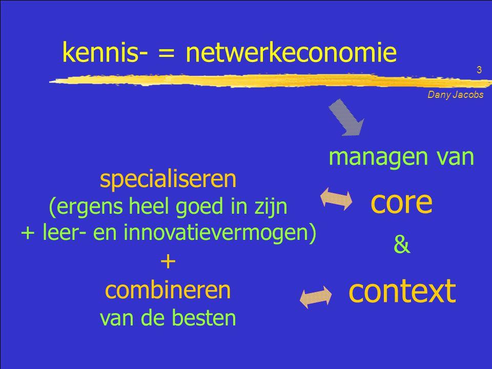 Dany Jacobs 3 kennis- = netwerkeconomie specialiseren (ergens heel goed in zijn + leer- en innovatievermogen) + combineren van de besten core & context managen van