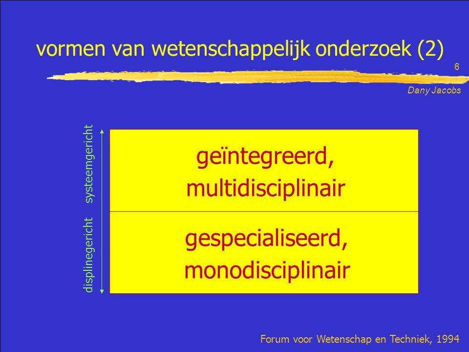 Dany Jacobs 6 vormen van wetenschappelijk onderzoek (2) Forum voor Wetenschap en Techniek, 1994 geïntegreerd, multidisciplinair gespecialiseerd, monodisciplinair displinegericht systeemgericht