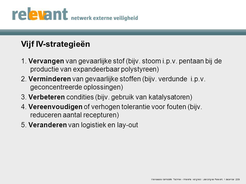 Vijf IV-strategieën 1. Vervangen van gevaarlijke stof (bijv. stoom i.p.v. pentaan bij de productie van expandeerbaar polystyreen) 2. Verminderen van g