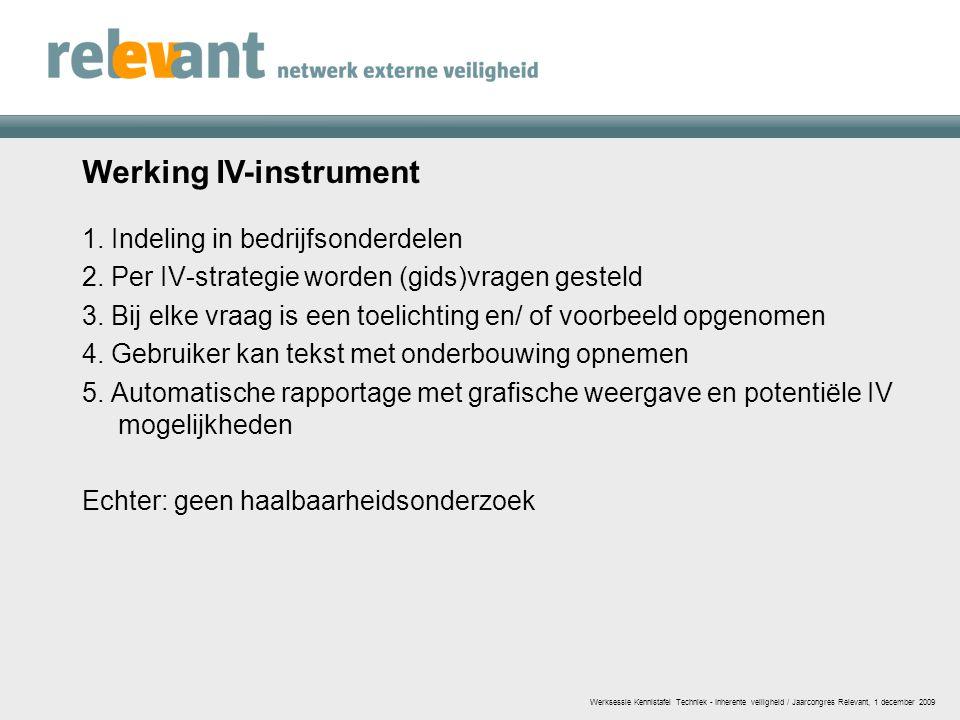 Werking IV-instrument 1. Indeling in bedrijfsonderdelen 2. Per IV-strategie worden (gids)vragen gesteld 3. Bij elke vraag is een toelichting en/ of vo