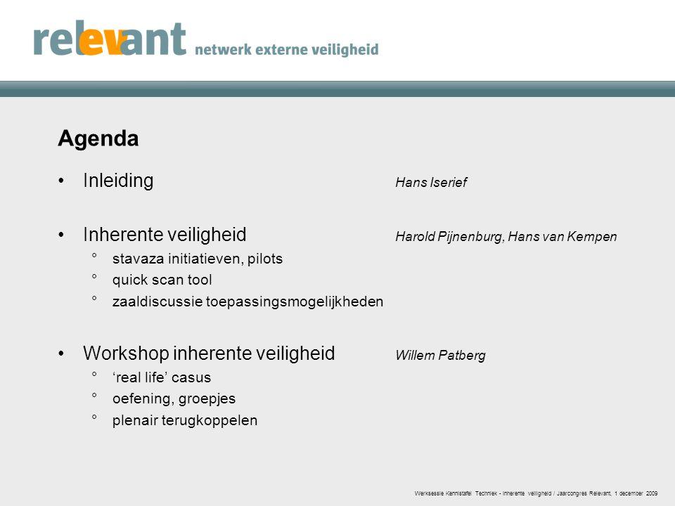 Agenda Inleiding Hans Iserief Inherente veiligheid Harold Pijnenburg, Hans van Kempen °stavaza initiatieven, pilots °quick scan tool °zaaldiscussie to