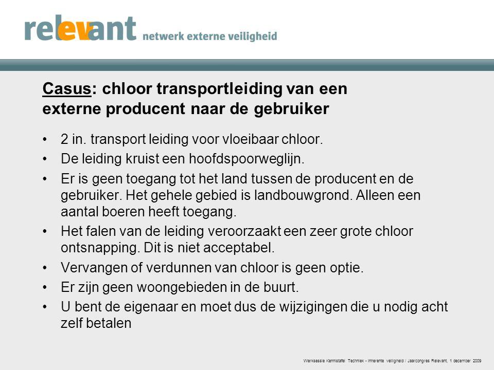 Casus: chloor transportleiding van een externe producent naar de gebruiker 2 in. transport leiding voor vloeibaar chloor. De leiding kruist een hoofds