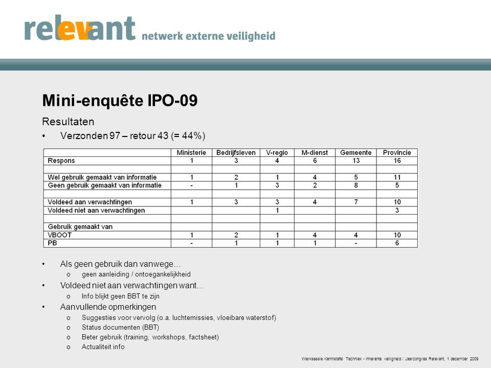 Mini-enquête IPO-09 Resultaten Verzonden 97 – retour 43 (= 44%) Werksessie Kennistafel Techniek - Inherente veiligheid / Jaarcongres Relevant, 1 decem