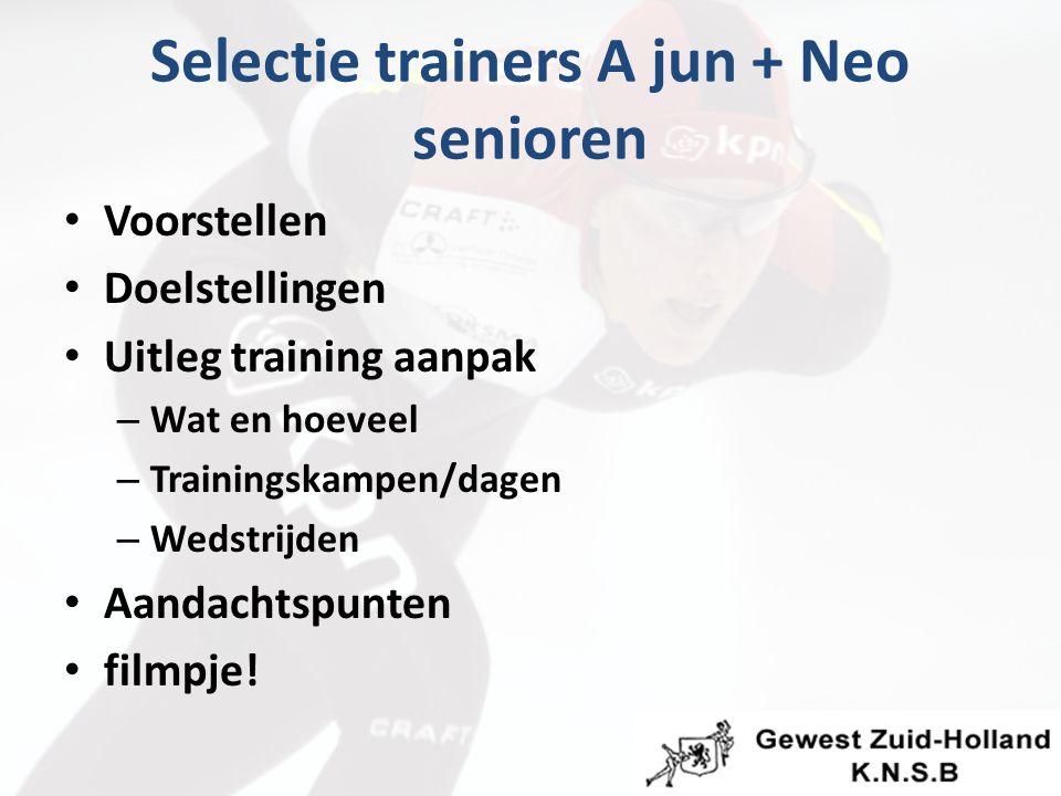 Selectie trainers A jun + Neo senioren Voorstellen Doelstellingen Uitleg training aanpak – Wat en hoeveel – Trainingskampen/dagen – Wedstrijden Aandachtspunten filmpje!