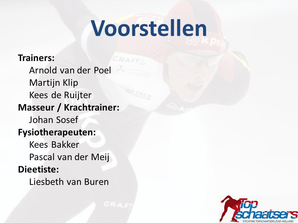 Voorstellen Trainers: Arnold van der Poel Martijn Klip Kees de Ruijter Masseur / Krachtrainer: Johan Sosef Fysiotherapeuten: Kees Bakker Pascal van de