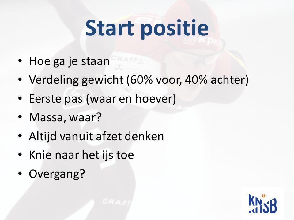Start positie Hoe ga je staan Verdeling gewicht (60% voor, 40% achter) Eerste pas (waar en hoever) Massa, waar.