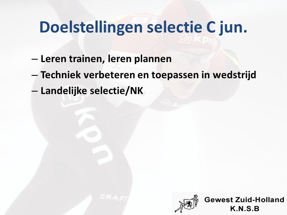 Doelstellingen selectie C jun. – Leren trainen, leren plannen – Techniek verbeteren en toepassen in wedstrijd – Landelijke selectie/NK