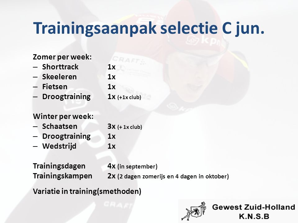 Trainingsaanpak selectie C jun. Zomer per week: – Shorttrack1x – Skeeleren1x – Fietsen1x – Droogtraining1x (+1x club) Winter per week: – Schaatsen3x (