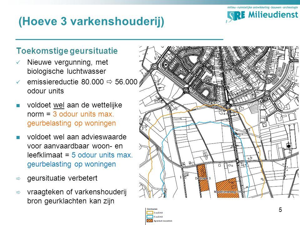 (Hoeve 3 varkenshouderij) Toekomstige geursituatie Nieuwe vergunning, met biologische luchtwasser emissiereductie 80.000  56.000 odour units voldoet wel aan de wettelijke norm = 3 odour units max.