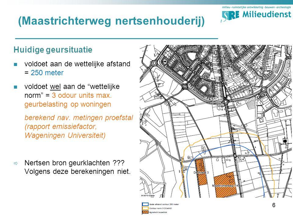 (Maastrichterweg nertsenhouderij) Huidige geursituatie voldoet aan de wettelijke afstand = 250 meter voldoet wel aan de wettelijke norm = 3 odour units max.