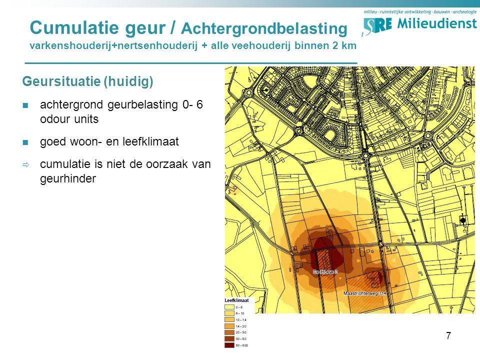 Cumulatie geur / Achtergrondbelasting varkenshouderij+nertsenhouderij + alle veehouderij binnen 2 km Geursituatie (huidig) achtergrond geurbelasting 0- 6 odour units goed woon- en leefklimaat  cumulatie is niet de oorzaak van geurhinder 7