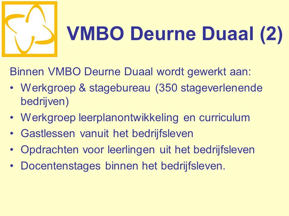 VMBO Deurne Duaal (2) Binnen VMBO Deurne Duaal wordt gewerkt aan: Werkgroep & stagebureau (350 stageverlenende bedrijven) Werkgroep leerplanontwikkeli