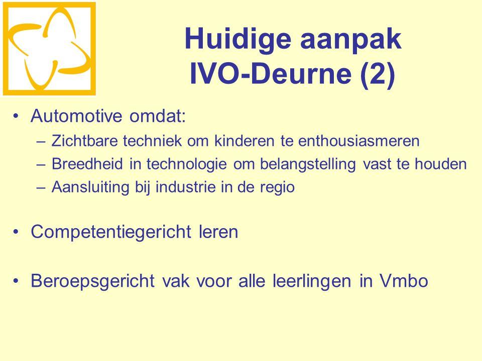 Huidige aanpak IVO-Deurne (2) Automotive omdat: –Zichtbare techniek om kinderen te enthousiasmeren –Breedheid in technologie om belangstelling vast te
