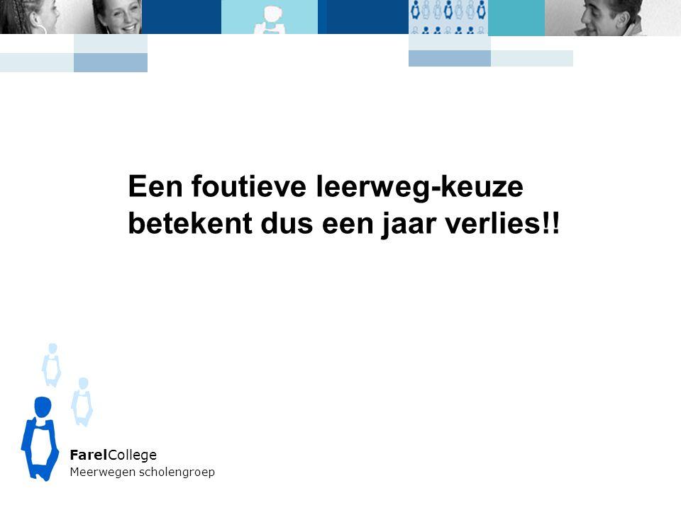 FarelCollege Meerwegen scholengroep Een foutieve leerweg-keuze betekent dus een jaar verlies!!