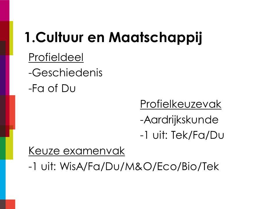 1.Cultuur en Maatschappij Profieldeel -Geschiedenis -Fa of Du Profielkeuzevak -Aardrijkskunde -1 uit: Tek/Fa/Du Keuze examenvak -1 uit: WisA/Fa/Du/M&O/Eco/Bio/Tek