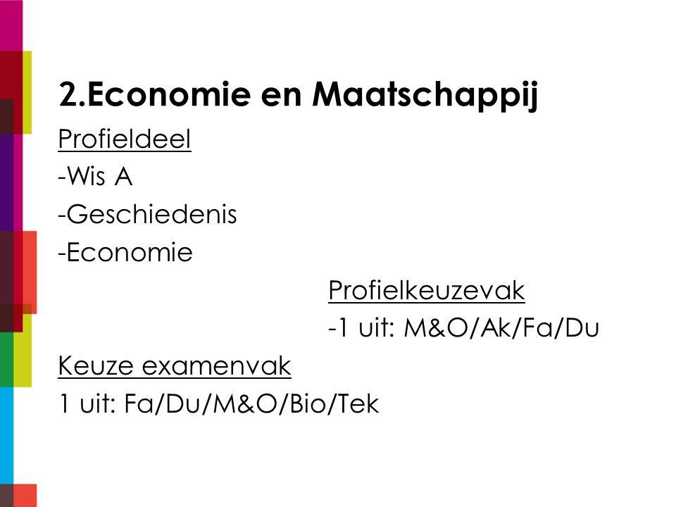 2.Economie en Maatschappij Profieldeel -Wis A -Geschiedenis -Economie Profielkeuzevak -1 uit: M&O/Ak/Fa/Du Keuze examenvak 1 uit: Fa/Du/M&O/Bio/Tek