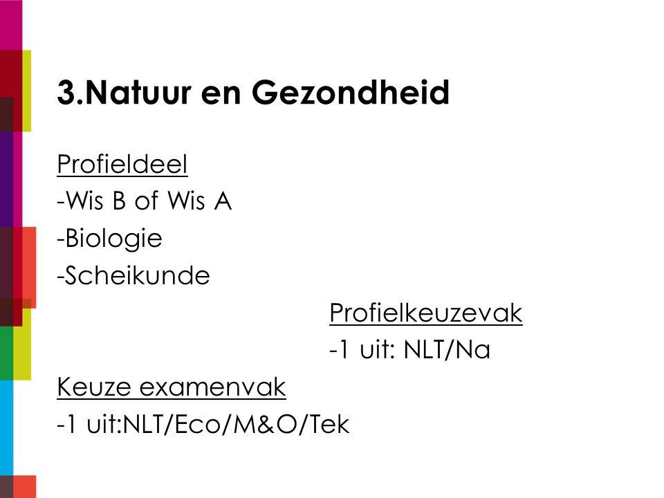 3.Natuur en Gezondheid Profieldeel -Wis B of Wis A -Biologie -Scheikunde Profielkeuzevak -1 uit: NLT/Na Keuze examenvak -1 uit:NLT/Eco/M&O/Tek
