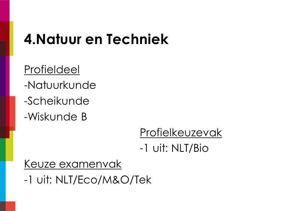 4.Natuur en Techniek Profieldeel -Natuurkunde -Scheikunde -Wiskunde B Profielkeuzevak -1 uit: NLT/Bio Keuze examenvak -1 uit: NLT/Eco/M&O/Tek