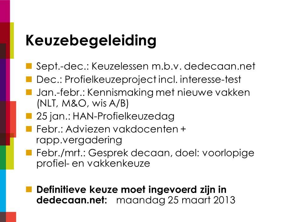Keuzebegeleiding Sept.-dec.: Keuzelessen m.b.v. dedecaan.net Dec.: Profielkeuzeproject incl.
