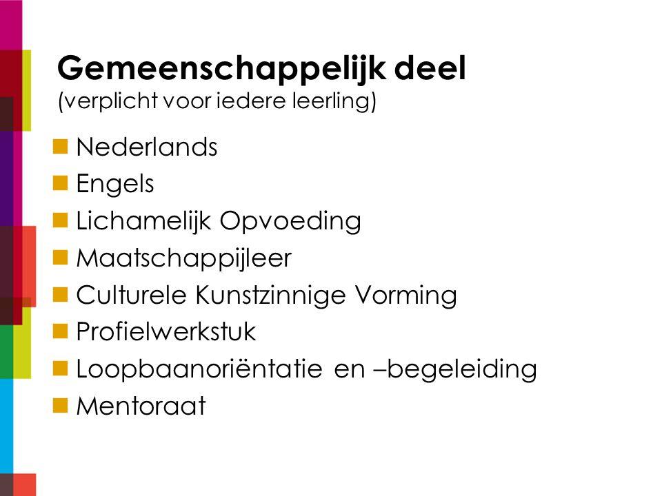 Gemeenschappelijk deel (verplicht voor iedere leerling) Nederlands Engels Lichamelijk Opvoeding Maatschappijleer Culturele Kunstzinnige Vorming Profielwerkstuk Loopbaanoriëntatie en –begeleiding Mentoraat