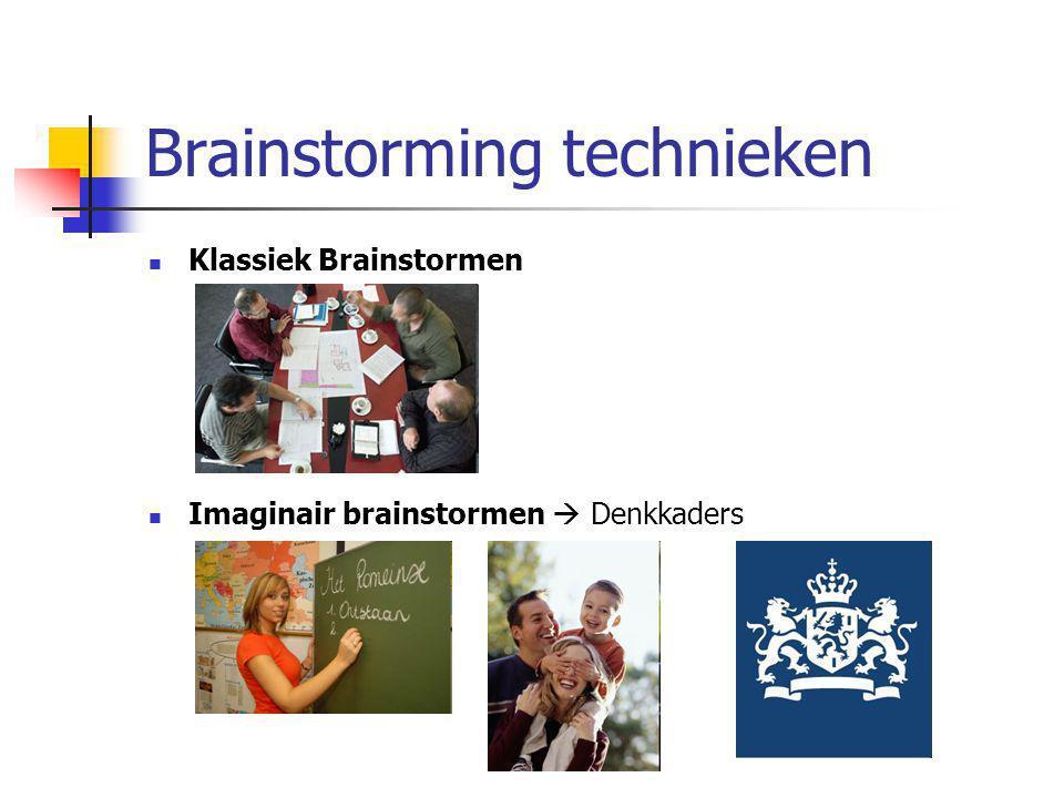 Brainstorming technieken Klassiek Brainstormen Imaginair brainstormen  Denkkaders