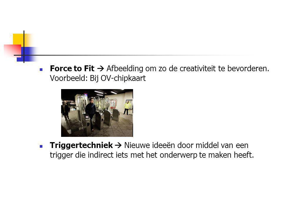 Force to Fit  Afbeelding om zo de creativiteit te bevorderen. Voorbeeld: Bij OV-chipkaart Triggertechniek  Nieuwe ideeën door middel van een trigger