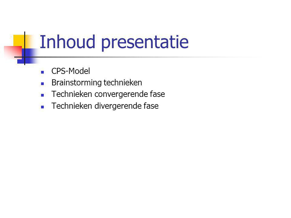 Inhoud presentatie CPS-Model Brainstorming technieken Technieken convergerende fase Technieken divergerende fase