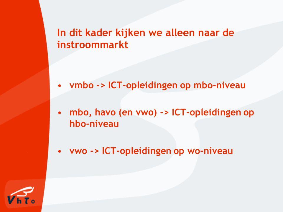 In dit kader kijken we alleen naar de instroommarkt vmbo -> ICT-opleidingen op mbo-niveau mbo, havo (en vwo) -> ICT-opleidingen op hbo-niveau vwo -> ICT-opleidingen op wo-niveau