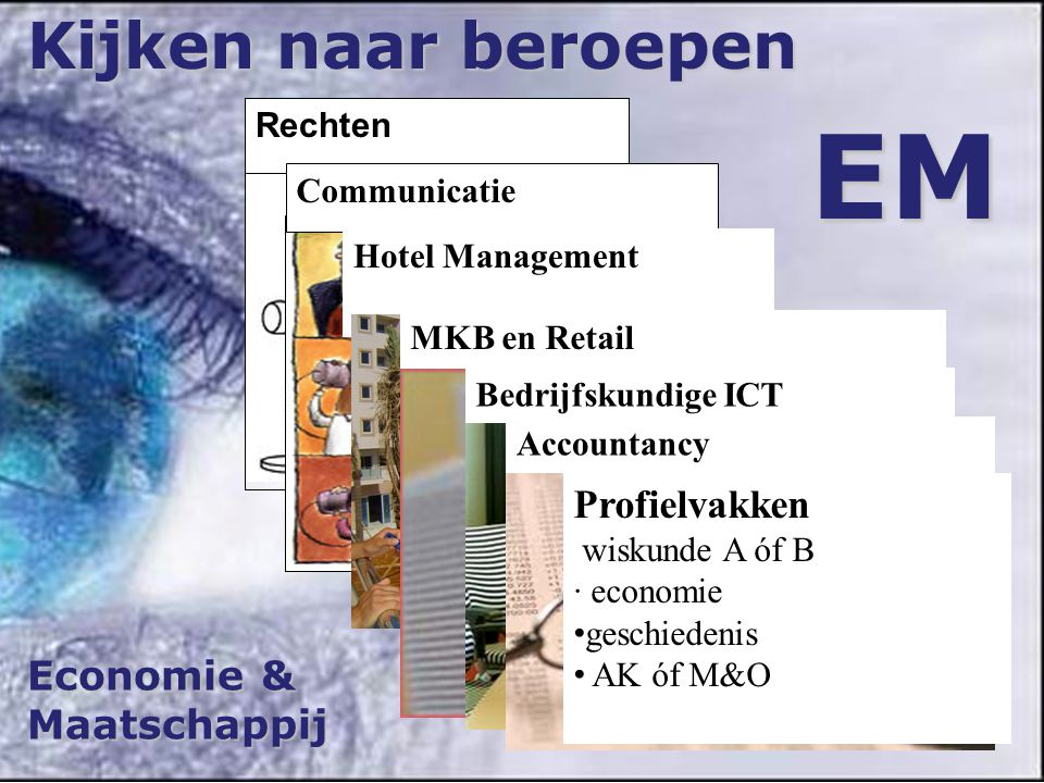 Economie & Maatschappij Kijken naar beroepen EM Rechten Communicatie Hotel Management MKB en Retail Bedrijfskundige ICT Accountancy Profielvakken wiskunde A óf B · economie geschiedenis AK óf M&O