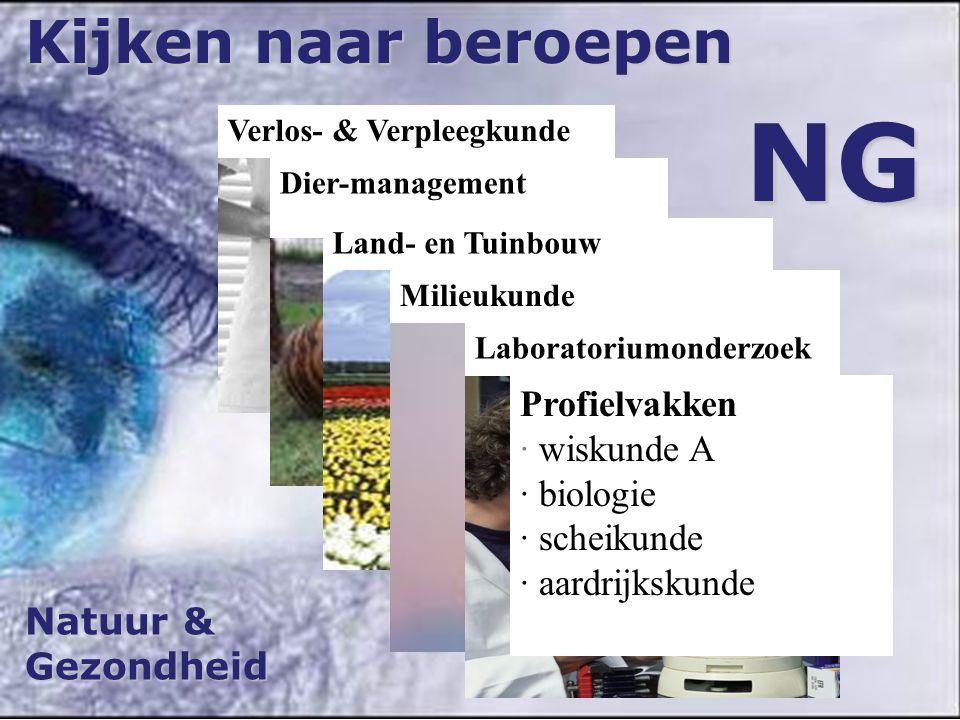 Verlos- & Verpleegkunde Natuur & Gezondheid Kijken naar beroepen NG Dier-management Land- en Tuinbouw Milieukunde Laboratoriumonderzoek Profielvakken