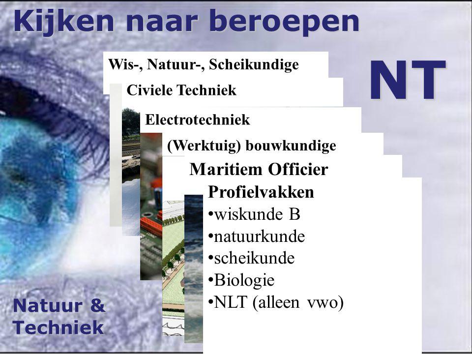 Natuur & Techniek Kijken naar beroepen NT Wis-, Natuur-, Scheikundige Civiele Techniek Electrotechniek (Werktuig) bouwkundige Maritiem Officier Profie
