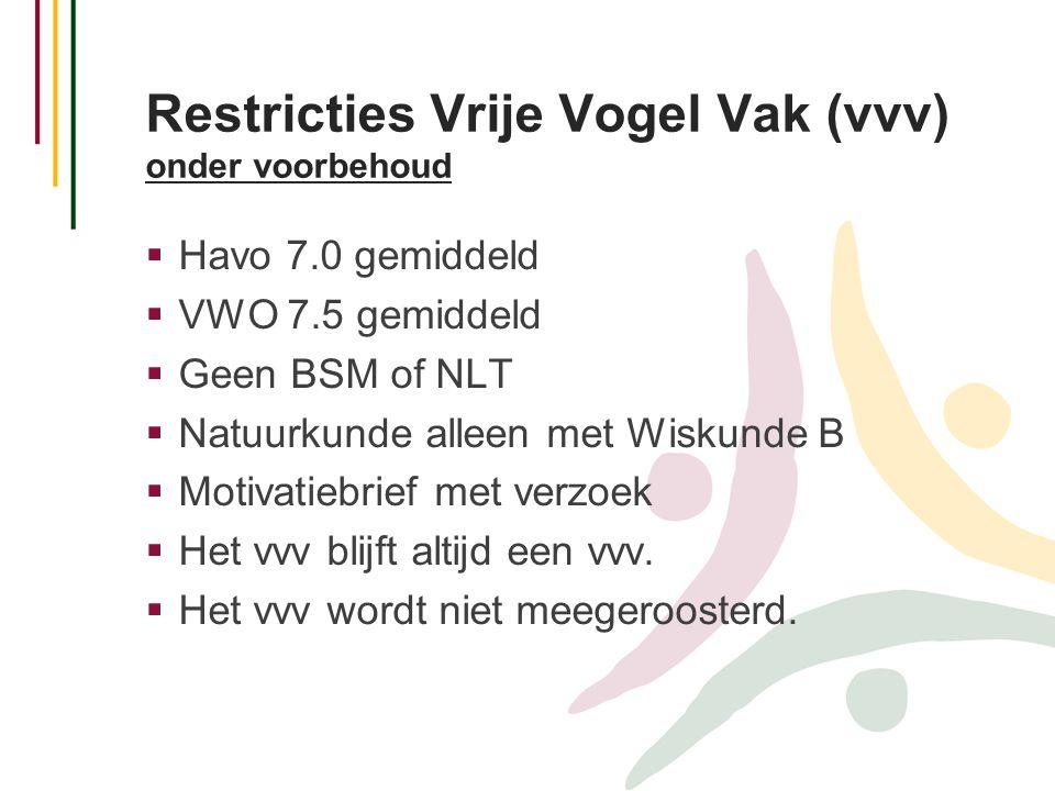 Restricties Vrije Vogel Vak (vvv) onder voorbehoud  Havo 7.0 gemiddeld  VWO 7.5 gemiddeld  Geen BSM of NLT  Natuurkunde alleen met Wiskunde B  Mo