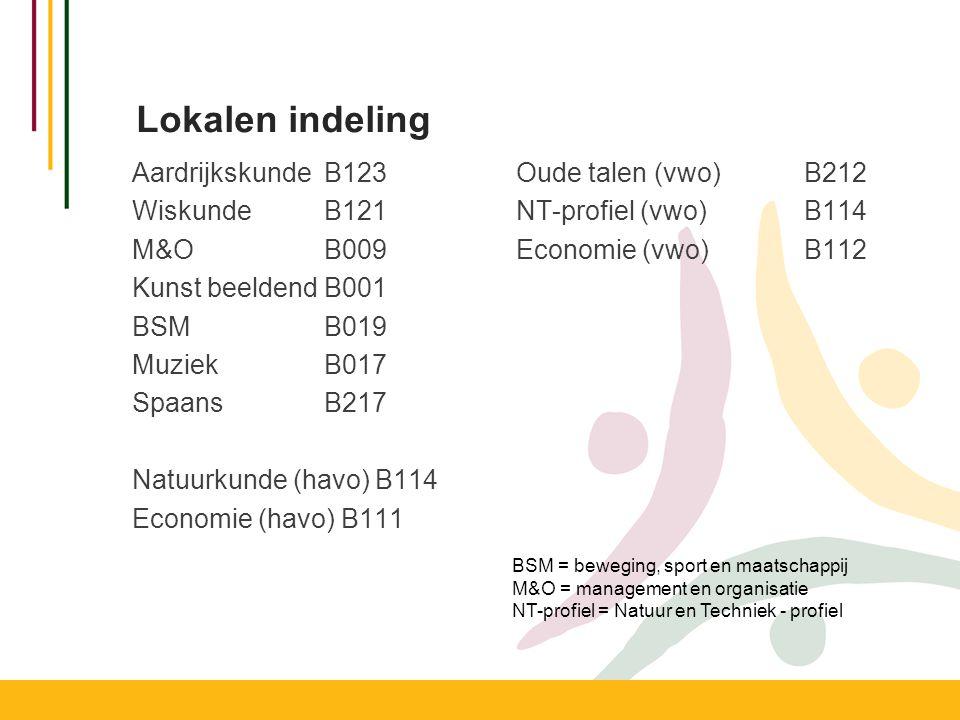 Lokalen indeling AardrijkskundeB123Oude talen (vwo)B212 Wiskunde B121NT-profiel (vwo) B114 M&OB009Economie (vwo) B112 Kunst beeldendB001 BSMB019 Muzie