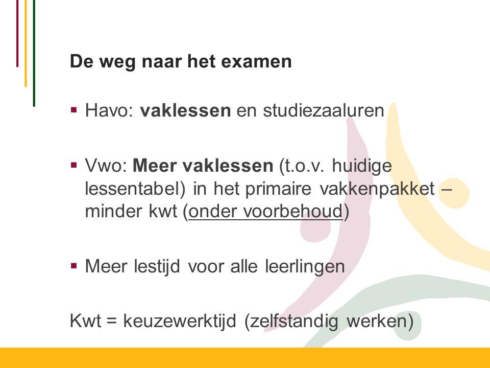 De weg naar het examen  Havo: vaklessen en studiezaaluren  Vwo: Meer vaklessen (t.o.v.